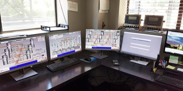 The monitors at Blythe Construction emulsion plant display four elements of MINDS' EmulTronic plant control system and its Tessera software for loadout and ticketing. MINDS' Software Contributes to Successful Launch of Company's First Emulsion Plant MINDS Inc
