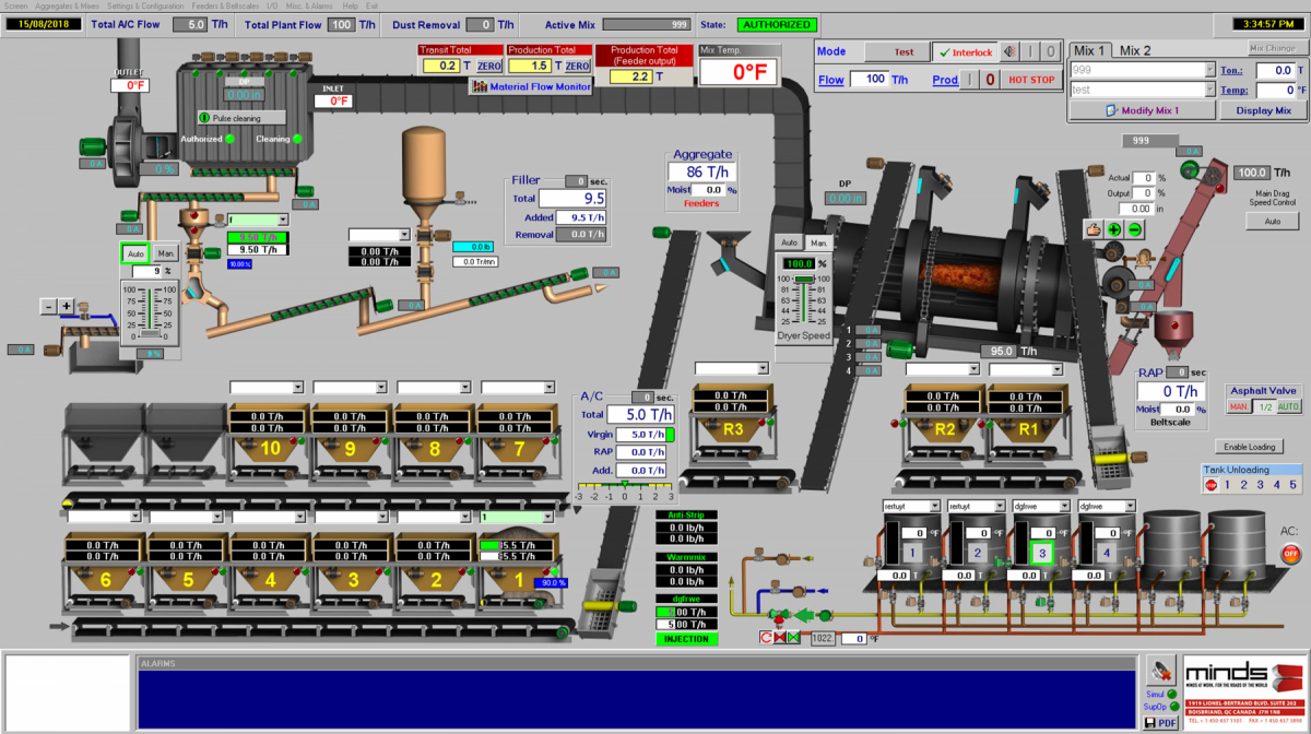 MINDS' DrumTronic asphalt plant software was designed to easily communicate the metrics operators need to understand.